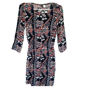 H&M 3/4 Length Sleeve Navy Print Dress, Si…